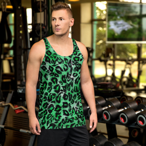 Green Leopard Animal Print Mens Or Womens Unisex Premium Tank Top- Made in USA-Men's Tank Top-Heidi Kimura Art LLC