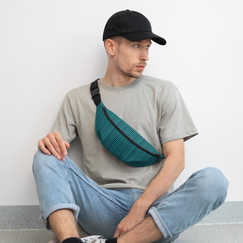 Modern Teal Blue Black White Stripe Print Designer Premium Quality Print Unisex Water Repellent Best Festival Fanny Pack Mini Over The Shoulder Bag/ Hip Pack/ Belt Waist Bag With Adjustable Waist/ Shoulder Belts For Men/ Women - Made in USA/ Europe (Sizes: S, M, L)