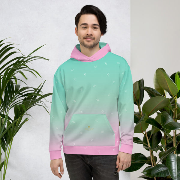 Pink Blue Ombre Print Men's or Women's Unisex Hoodie Pullover- Made in Europe-Men's Hoodie-Heidi Kimura Art LLC