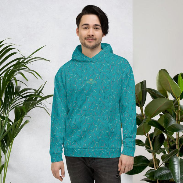 Teal Blue Birthday Sprinkle Print Men's Unisex Hoodie Sweatshirt Pullover- Made in EU-Men's Hoodie-Heidi Kimura Art LLC