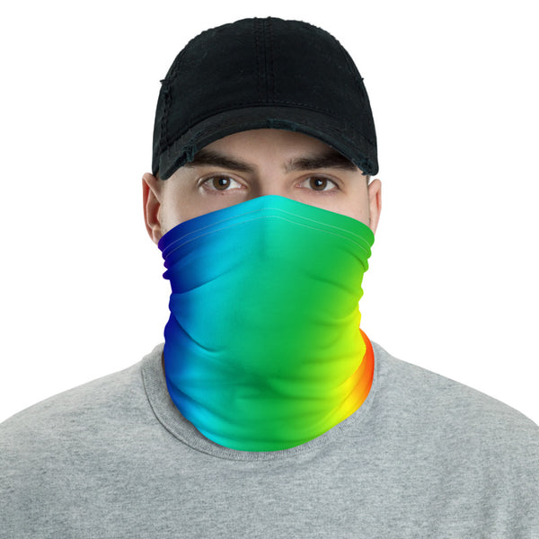 Rainbow Face Mask Shield, Gay Pride Rainbow Ombre Print Luxury Premium Quality Cool And Cute One-Size Reusable Washable Scarf Headband Bandana - Made in USA/EU, Face Neck Warmers, Non-Medical Breathable Face Covers, Neck Gaiters, Non-Medical Face Coverings
