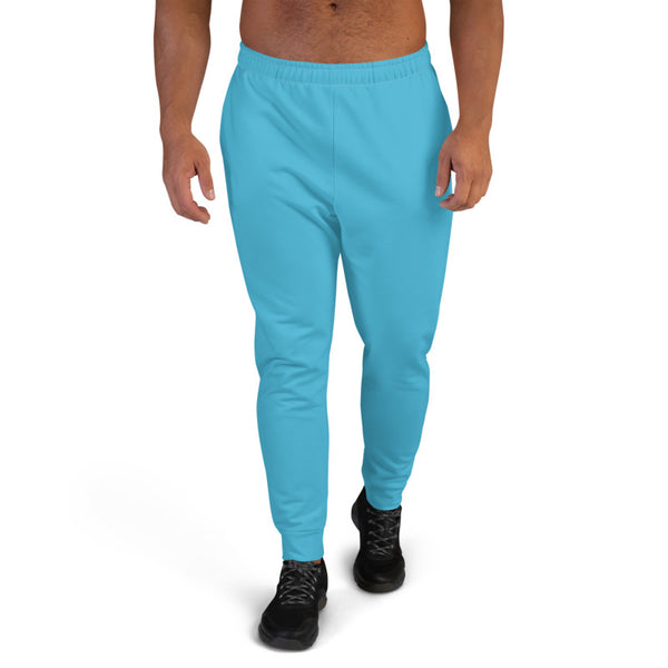 Sky Baby Blue Designer Men's Joggers, Best Blue Solid Color Premium Sweatpants For Men, Modern Slim-Fit Designer Ultra Soft & Comfortable Men's Joggers, Men's Jogger Pants-Made in EU/MX (US Size: XS-3XL)