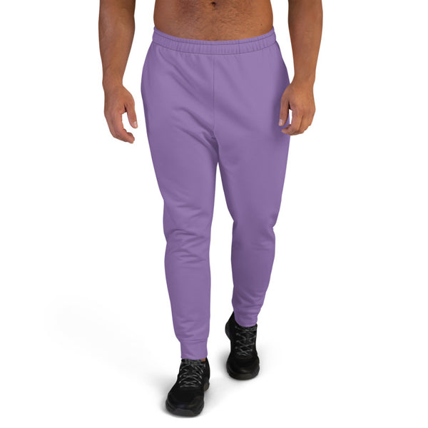Pastel Purple Designer Men's Joggers, Best Purple Solid Color Sweatpants For Men, Modern Slim-Fit Designer Ultra Soft & Comfortable Men's Joggers, Men's Jogger Pants-Made in EU/MX (US Size: XS-3XL)