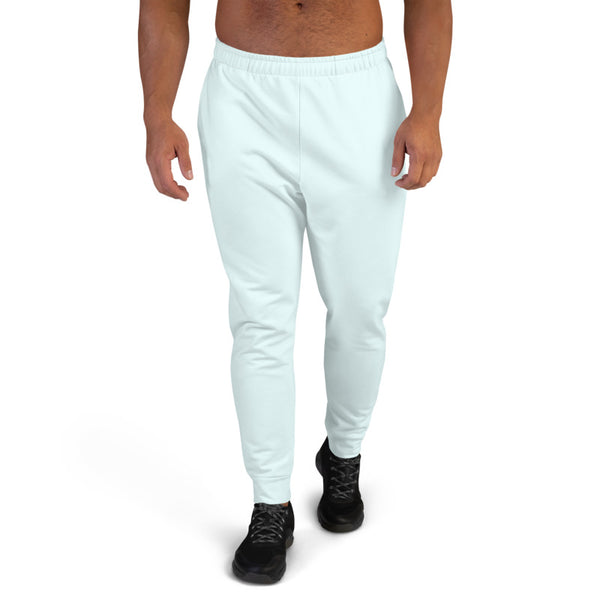 Light Blue Designer Men's Joggers, Best Pale Blue Solid Color Sweatpants For Men, Modern Slim-Fit Designer Ultra Soft & Comfortable Men's Joggers, Men's Jogger Pants-Made in EU/MX (US Size: XS-3XL)