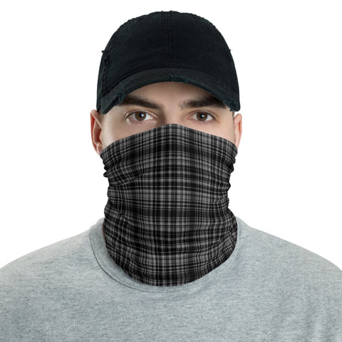 Black Plaid Face Mask Shield, Plaid Tartan Print Luxury Premium Quality Cool And Cute One-Size Reusable Washable Scarf Headband Bandana - Made in USA/EU, Face Neck Warmers, Non-Medical Breathable Face Covers, Neck Gaiters