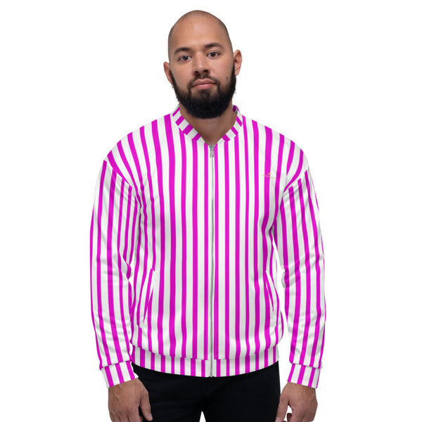 Pink Stripe Bomber Jacket, Vertical Striped Print Jacket, Modern Premium Quality Modern Unisex Jacket For Men/Women With Pockets-Made in EU