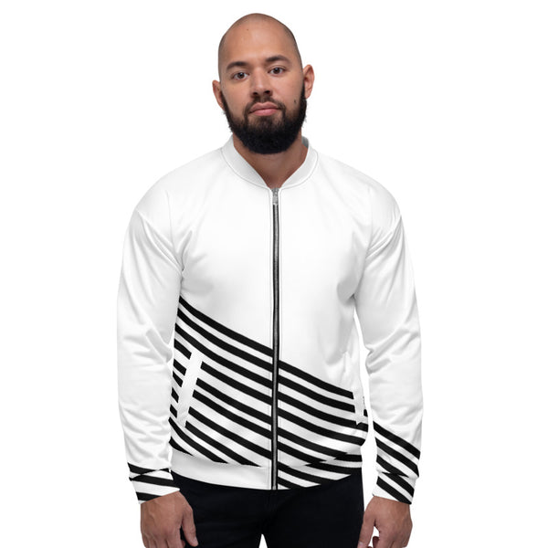 White Black Striped Bomber Jacket, Modern Premium Quality Modern Unisex Jacket For Men/Women With Pockets-Made in EU