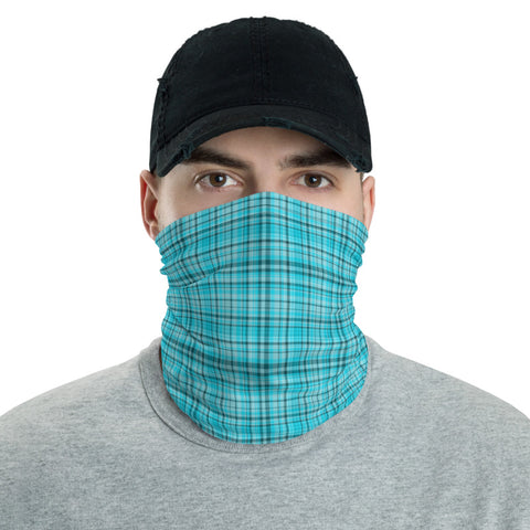 Light Blue Plaid Face Mask Shield, Plaid Tartan Print Luxury Premium Quality Cool And Cute One-Size Reusable Washable Scarf Headband Bandana - Made in USA/EU, Face Neck Warmers, Non-Medical Breathable Face Covers, Neck Gaiters