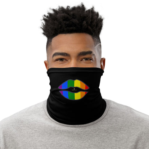 Funny Lips Neck Gaiter, Gay Pride Parade Neck Gaiter, Black Face Mask Shield, Luxury Premium Quality Cool And Cute One-Size Reusable Washable Scarf Headband Bandana - Made in USA/EU, Face Neck Warmers, Non-Medical Breathable Face Covers, Neck Gaiters