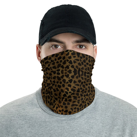 Dark Brown Cheetah Face Mask Shield, Animal Print Luxury Premium Quality Cool And Cute One-Size Reusable Washable Scarf Headband Bandana - Made in USA/EU, Face Neck Warmers, Non-Medical Breathable Face Covers, Neck Gaiters