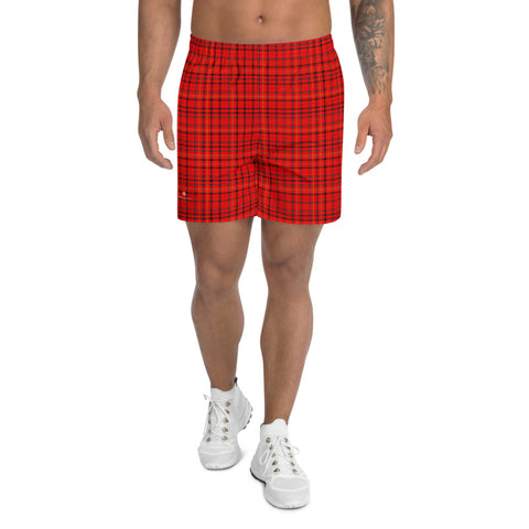 Red Plaid Print Shorts, Traditional Preppy Tartan Plaid Print Men's Athletic Best Long Shorts- Made in EU (US Size: XS-3XL)