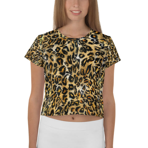 Brown Leopard Women's Crop Tee, Animal Print Cropped Short T-Shirt Outfit, Crop Tee Top Women's T-Shirt, Made in Europe, (US Size: XS-3XL) Plus Size Available