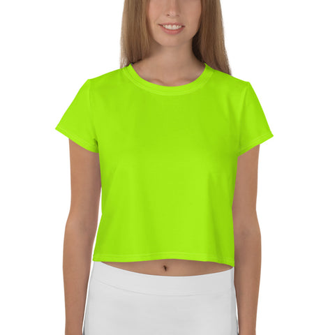 Neon Green Women's Crop Tee, Ladies Solid Color Modern Cropped Short T-Shirt Outfit, Crop Tee Top Women's T-Shirt, Made in Europe, (US Size: XS-3XL) Plus Size Available