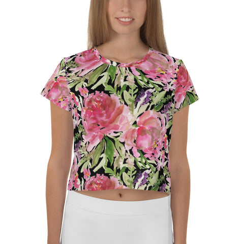 Black Rose Crop Tee, Floral Flower Print Cropped Short T-Shirt Outfit, Crop Tee Top Women's T-Shirt, Made in Europe, (US Size: XS-3XL) Plus Size Available