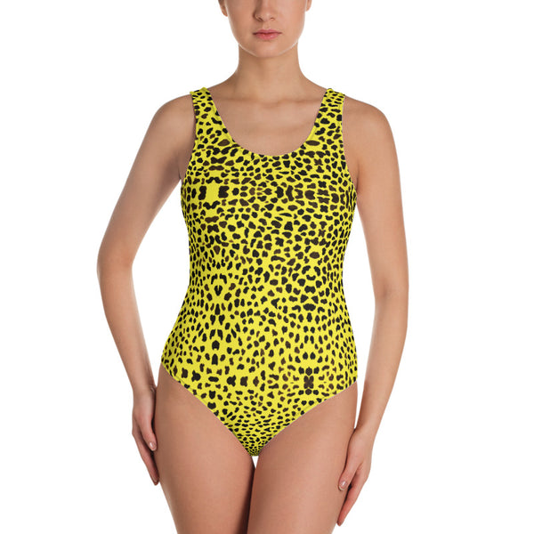Yellow Leopard One-Piece Swimsuit, Women's Animal Print Designer Swimwear-Heidi Kimura Art LLC-Heidi Kimura Art LLC