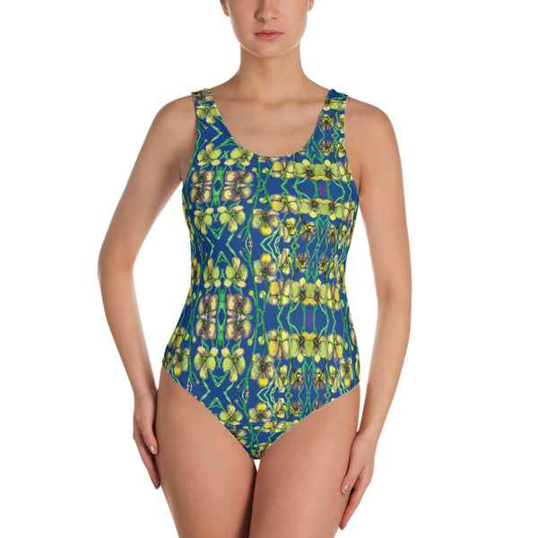 Blue Orchid Floral Print Swimwear, Designer Yellow Orchid One-Piece Swimsuit-Heidi Kimura Art LLC-Heidi Kimura Art LLC