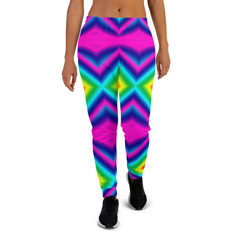 Rainbow Chevron Women's Joggers, Colorful Gay Pride Neon Clothing, Premium Printed Slit Fit Soft Women's Joggers Sweatpants -Made in EU (US Size: XS-3XL) Plus Size Available, Rave Party Women's Joggers, Soft Joggers Pants Womens, Neon Jogger Pants, Women's Sweatpants, Jogging Bottoms & Sweatpants, Rainbow Joggers, Rainbow Activewear, Joggers For Women