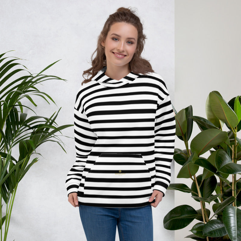 Black White Horizontal Stripe Print Women's or Men's Unisex Hoodie- Made in Europe-Unisex Hoodie-XS-Heidi Kimura Art LLC