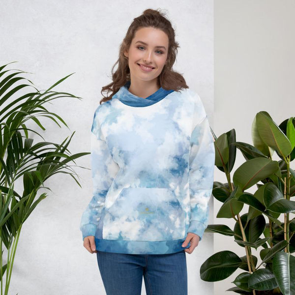 Blue Abstract White Print Men's or Women's Unisex Premium Hoodie - Made in Europe-Women's Hoodie-XS-Heidi Kimura Art LLC