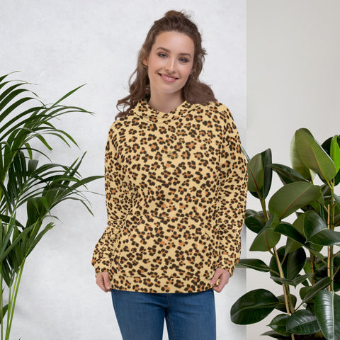 Brown Leopard Animal Print Women's Unisex Hoodie Sweatshirt Pullover- Made in Europe-Women's Hoodie-Heidi Kimura Art LLC Brown Leopard Women's Hoodies, Brown Leopard Animal Print Women's Unisex Hoodie- Made in Europe (US Size: XS-3XL), Women's or Men's Cute Leopard Print Long Sleeve Hoodie Pullover Sweatshirt, Plus Size Available