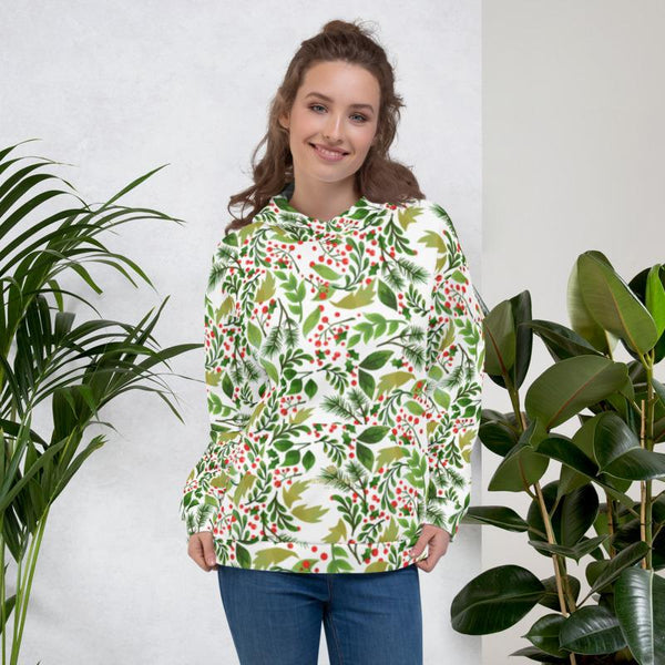 Christmas White Green Winter Floral Print Women's Unisex Hoodie- Made in Europe-Women's Hoodie-XS-Heidi Kimura Art LLC Christmas Women's Hoodies, Christmas White Green Winter Floral Print Men's or Women's Unisex Hoodie- Made in Europe (US Size: XS-3XL), Women's or Men's Christmas Floral Printed Hoodie Pullover Sweatshirt, Plus Size Available