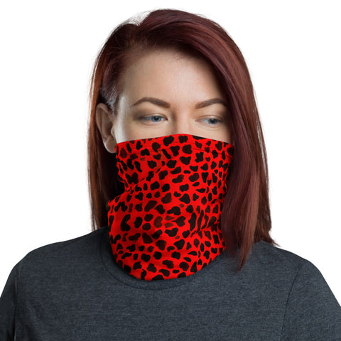 Red Cheetah Neck Gaiter, Animal Print Luxury Premium Quality Cool And Cute One-Size Reusable Washable Scarf Headband Bandana - Made in USA/EU, Face Neck Warmers, Non-Medical Breathable Face Covers, Neck Gaiters