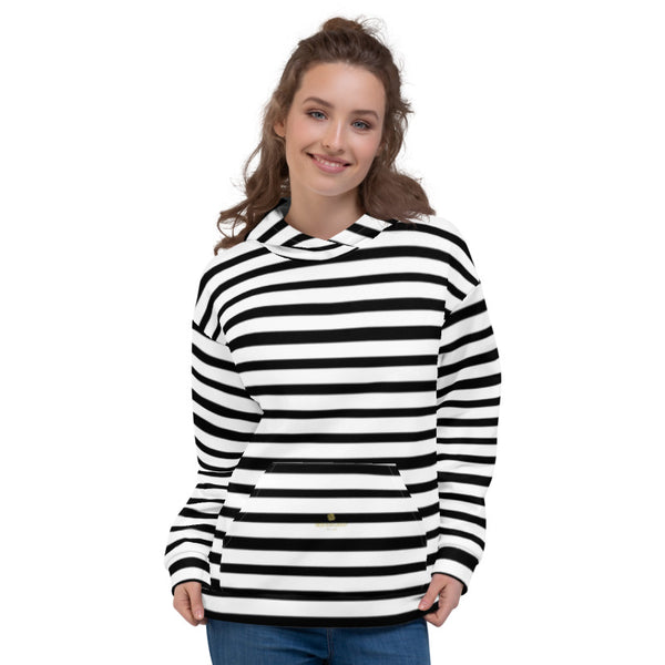 Black White Horizontal Stripe Print Women's or Men's Unisex Hoodie- Made in Europe-Unisex Hoodie-Heidi Kimura Art LLC