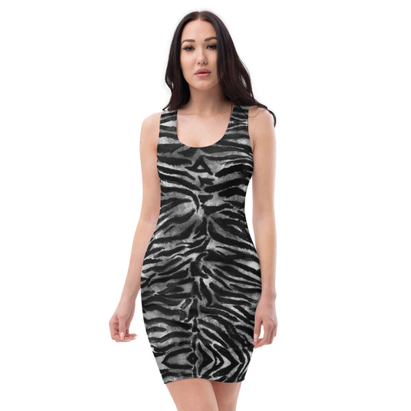 Black White Tiger Stripe Dress, Women's Animal Print Dress-Made in USA/EU-Heidi Kimura Art LLC-Heidi Kimura Art LLC