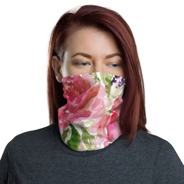 Pink Rose Floral Face Mask, Rose Flower Floral Print Luxury Premium Quality Cool And Cute One-Size Reusable Washable Scarf Headband Bandana - Made in USA/EU, Face Neck Warmers, Non-Medical Breathable Face Covers, Neck Gaiters