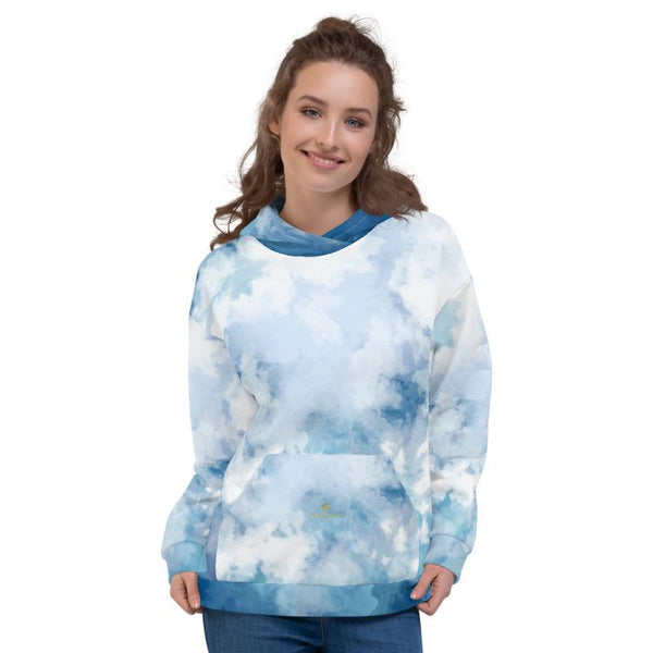 Blue Abstract White Print Men's or Women's Unisex Premium Hoodie - Made in Europe-Women's Hoodie-Heidi Kimura Art LLC Blue Abstract Unisex Hoodie, Blue Abstract White Print Men's or Women's Unisex Hoodie- Made in Europe (US Size: XS-3XL), Women's or Men's Modern Designer Abstract Printed Hoodie Pullover Sweatshirt, Plus Size Available