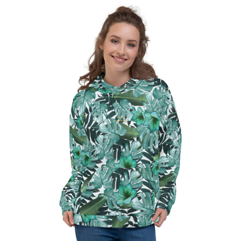 Green Tropical Leaf Print Women's Unisex Hoodie Sweatshirt Pullover Top- Made in EU-Women's Hoodie-XS-Heidi Kimura Art LLC Green Tropical Women's Hoodies, Green Tropical Leaf Print Women's Unisex Hoodie- Made in Europe (US Size: XS-3XL), Women's or Men's Hawaiian Tropical Leaf Print Long Sleeve Hoodie Pullover Sweatshirt, Plus Size Available, Palm Leaf Sweatshirts & Hoodies