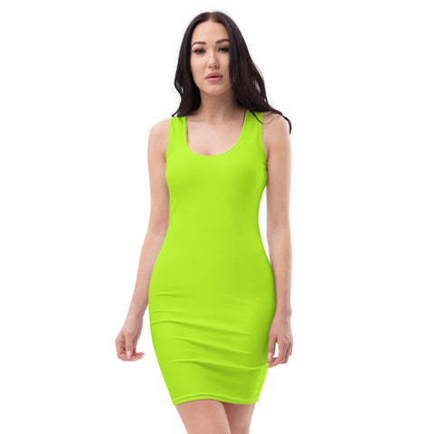 Neon Green Solid Color Dress, Women's Modern Minimalist Party Dress-Heidi Kimura Art LLC-Heidi Kimura Art LLC Neon Green Solid Color Dress, Women's Modern Minimalist Party Dress, Women's Long Sleeveless Designer Premium Dress - Made in USA/EU (US Size: XS-XL)