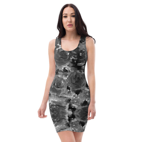 Black Rose Floral Print Dress, Best Women's Designer 1-Piece Sleeveless Dress-Made in USA/EU-Heidi Kimura Art LLC-Heidi Kimura Art LLC