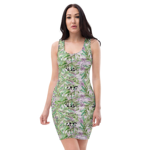 Lavender Floral Print Women's Dress, 1 Piece Flower Print Dress-Made in USA/EU-Heidi Kimura Art LLC-Heidi Kimura Art LLC Lavender Floral Print Women's Dress, Black Purple Lavender Floral Print Women's Long Sleeveless Designer Premium Dress - Made in USA/EU (US Size: XS-XL)