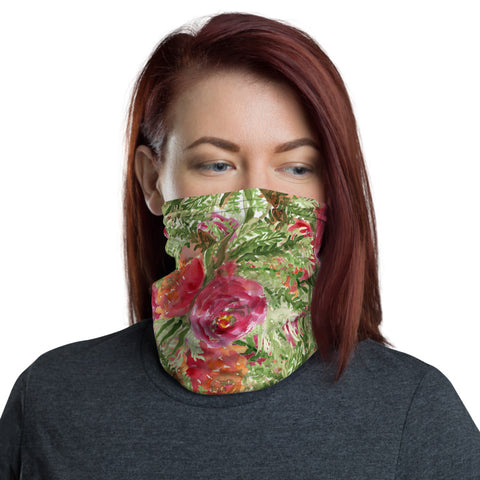Orange Red Rose Face Masks, Floral Print Women's Bandana Neck Gaiter-Made in USA/EU-Neck Gaiter-Printful-Heidi Kimura Art LLC