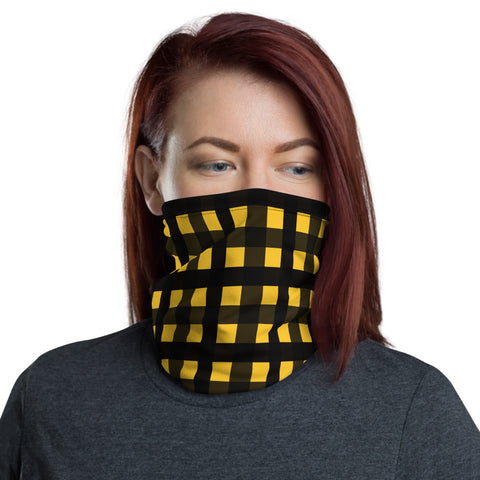 Yellow Buffalo Face Mask, Plaid Print Luxury Premium Quality Cool And Cute One-Size Reusable Washable Scarf Headband Bandana - Made in USA/EU, Face Neck Warmers, Non-Medical Breathable Face Covers, Neck Gaiters