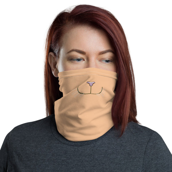 Funny Cat Face Face Mask, Washable Reusable Designer Neck Gaiter-Heidi Kimura Art LLC-Heidi Kimura Art LLC