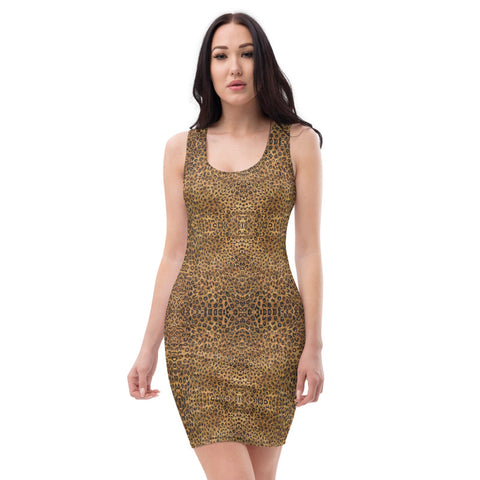 Brown Leopard Animal Print Dress, Wild Sexy Women's Dress-Made in USA/EU-Heidi Kimura Art LLC-Heidi Kimura Art LLC Brown Leopard Animal Print Dress, Wild Sexy Leopard Print Women's Designer Sleeveless Best Dress, Designer Bestselling Premium Quality Women's Sleeveless Dress-Made in USA (US Size: XS-XL)