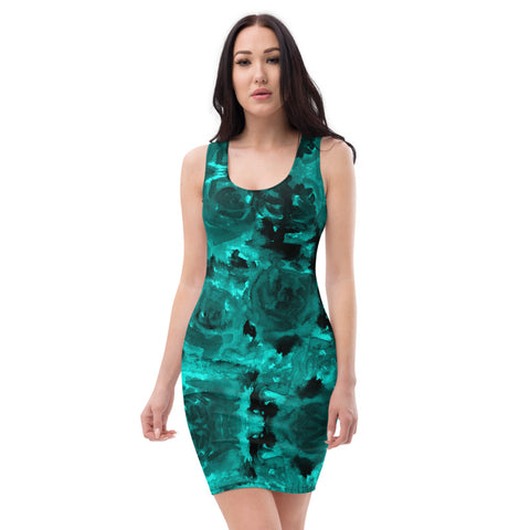 Blue Abstract Floral Print Women's Dress, Blue Rose Floral Print Women's Long Sleeveless Designer Premium Dress - Made in USA/EU (US Size: XS-XL)
