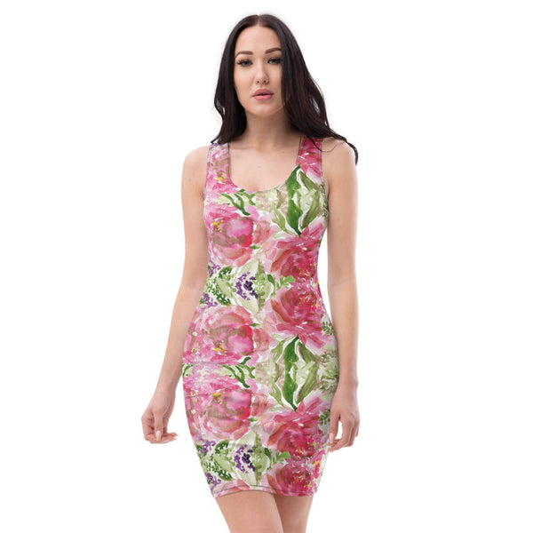 Pink Roses Classic Women's Dress, 1-piece Designer Dress-Made in USA/EU-Heidi Kimura Art LLC-Heidi Kimura Art LLC Pink Roses Classic Women's Dress, Rose Flower Floral Print Women's Long Sleeveless Designer Premium Dress - Made in USA/EU (US Size: XS-XL)