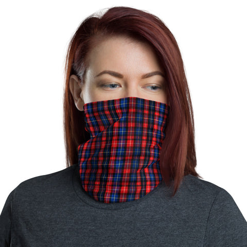 Red Blue Plaid Face Mask Shield, Plaid Tartan Print Luxury Premium Quality Cool And Cute One-Size Reusable Washable Scarf Headband Bandana - Made in USA/EU, Face Neck Warmers, Non-Medical Breathable Face Covers, Neck Gaiters