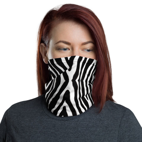 Zebra Stripe Neck Gaiter, Animal Print Luxury Premium Quality Cool And Cute One-Size Reusable Washable Scarf Headband Bandana - Made in USA/EU, Face Neck Warmers, Non-Medical Breathable Face Covers, Neck Gaiters