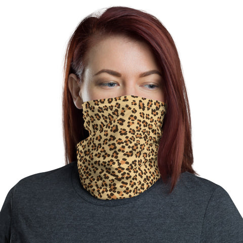 Brown Leopard Face Mask Coverings, Leopard Animal Print Luxury Premium Quality Cool And Cute One-Size Reusable Washable Scarf Headband Bandana - Made in USA/EU, Face Neck Warmers, Non-Medical Breathable Face Covers, Neck Gaiters, Non-Medical Face Coverings