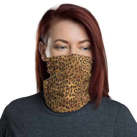 Brown Leopard Neck Gaiter, Animal Print Face Mask Shield, Luxury Premium Quality Cool And Cute One-Size Reusable Washable Scarf Headband Bandana - Made in USA/EU, Face Neck Warmers, Non-Medical Breathable Face Covers, Neck Gaiters