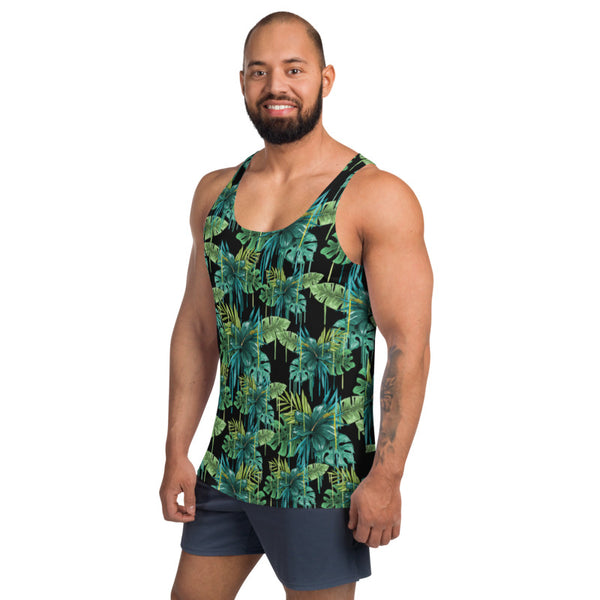 Black Tropical Unisex Tank Top, Green Leaf Best Floral Print Best Premium Unisex Men's/ Women's Stylish Premium Quality Men's Unisex Tank Top - Made in USA/ Europe (US Size: XS-2XL)