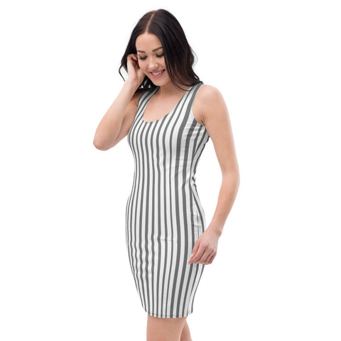 Grey Vertically Striped Women's Dress, Modern Classic Sleeveless Dress-Heidi Kimura Art LLC-Heidi Kimura Art LLC Grey Vertically Striped Women's Dress, Modern Classic Women's Long Sleeveless Designer Premium Dress - Made in USA/EU (US Size: XS-XL)