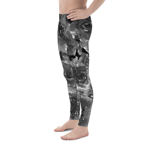 Gray Rose Men's Leggings, Floral Abstract Print Premium Elastic Comfy Men's Leggings Fitted Tights Pants - Made in USA/EU (US Size: XS-3XL) Spandex Meggings Men's Workout Gym Tights Leggings, Compression Tights, Kinky Fetish Men Pants