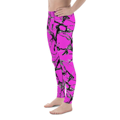 Hot Pink Marble Print Meggings, Premium Men's Leggings Gym Tights - Made in USA/EU-Men's Leggings-Heidi Kimura Art LLC