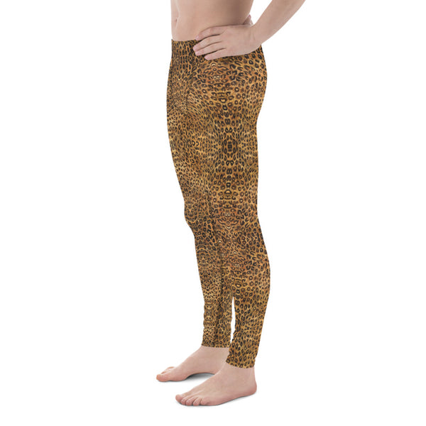 Brown Leopard Meggings, Animal Print Premium Elastic Comfy Men's Leggings Fitted Tights Pants - Made in USA/EU (US Size: XS-3XL) Spandex Meggings Men's Workout Gym Tights Leggings, Compression Tights, Kinky Fetish Men Pants