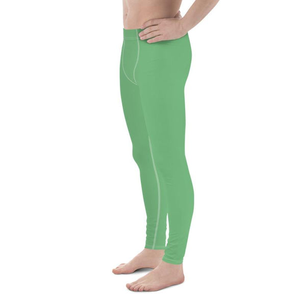 Fern Green Meggings Compression Men Tights Comfy Men's Premium Best Leggings-Men's Leggings-Heidi Kimura Art LLC Fern Green Meggings, Fern Green Solid Color Premium Classic Elastic Comfy Men's Leggings Fitted Tights Pants - Made in USA/EU (US Size: XS-3XL) Meggings Men's Workout Gym Tights Leggings, Compression Tights, Kinky Fetish Men Pants